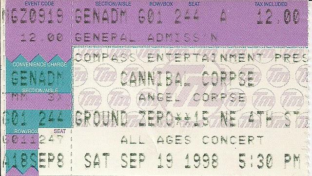 09/19/98 cannibal corpse/angel corpse @ minneapolis, mn (ticket)