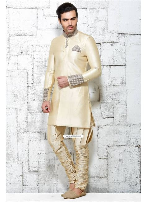 Buy Cream Designer Indian Wedding Wear Kurta Pajama In