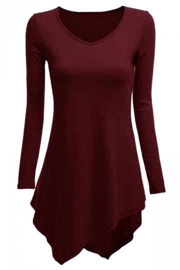 V Neck Asymmetric Hem Cutout Plain T-Shirts aliexpress for seniors