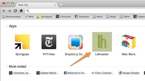 Add Custom Webapps to Chrome's New Tab Page