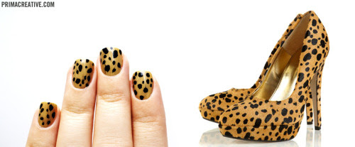 Nails Did : Cheetah Manicure Base : American Apparel Trenchcoat,  Color Club Black Nail Striper Inspired by : My new Topshop Cheetah Heels