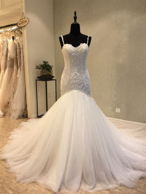 Classic Mermaid Spaghetti Straps Tulle and Lace Wedding Dress
