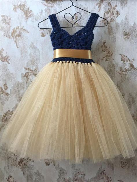 Navy And Gold Empire Flower Girl Tutu Dress, Crochet
