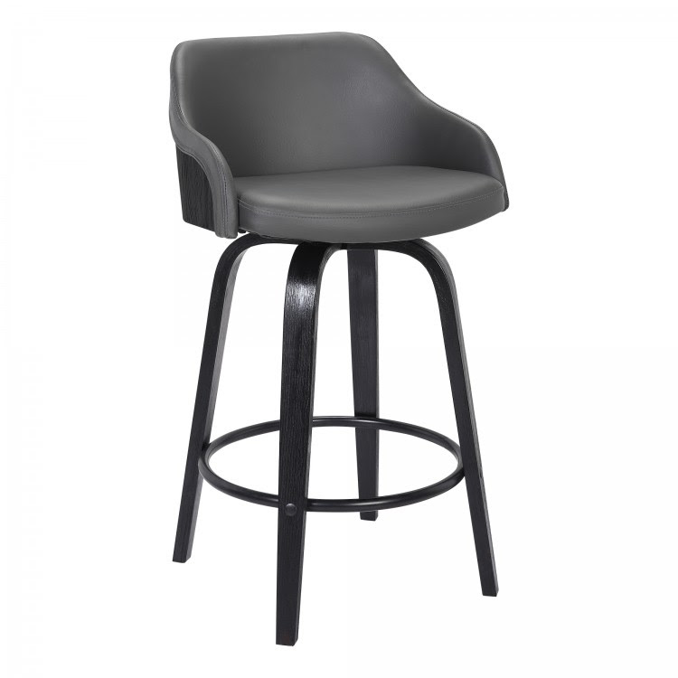 Alec Contemporary 26 Counter Height Swivel Barstool In Black Brush Wood Finish And Grey Faux Leather
