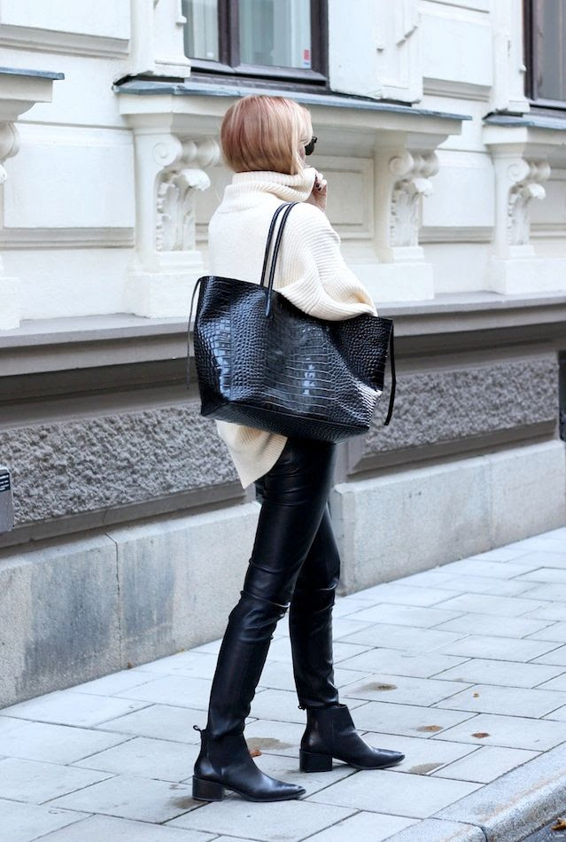 Le Fashion Blog -- Josefin Dahlberg In An Oversized Turtleneck Sweater, Croc-Embossed Tote, Leather Pants & Chelsea Ankle Boots -- Via Modette -- photo Le-Fashion-Blog-Oversized-Turtleneck-Sweater-Croc-Embossed-Tote-Leather-Pants-Chelsea-Ankle-Boots-Via-Modette-Josepfin-Dahlberg.jpg