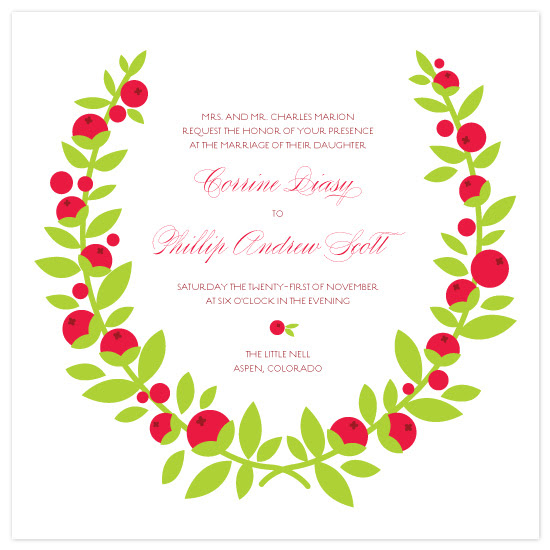 Wedding Invitations - Berry Wreath