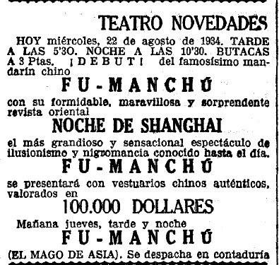 Fu-manchú en Barcelona 22-08-1934