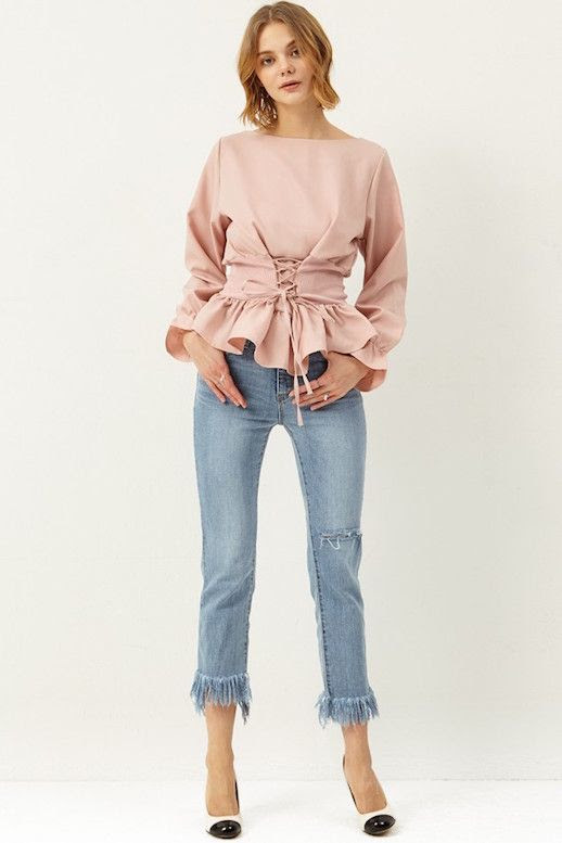 Le Fashion Blog Corset Blouse In Blush Color Under $100 Frayed Cropped Jeans Pumps Via Storets