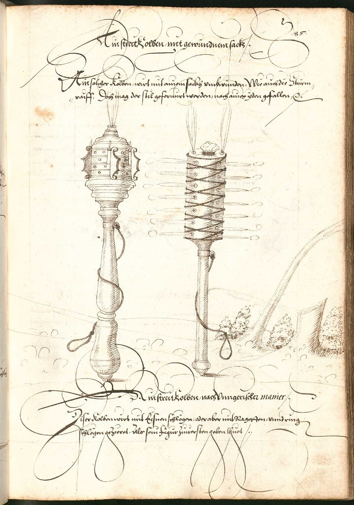Early Modern manuscript warfare drawing -  Artilleriebuch 1582 BSB d
