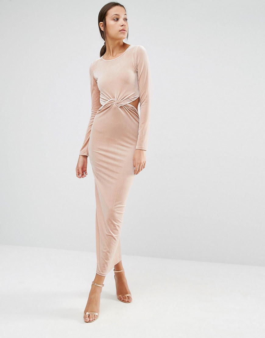Image 4 of True Decacende Tall Velvet Cut Out Detail Maxi Dress