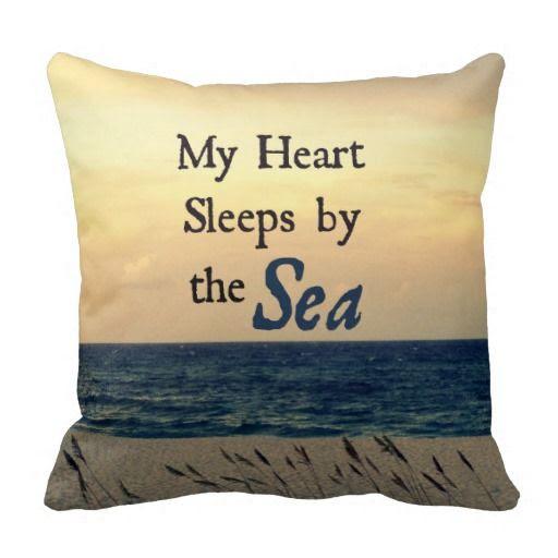 My heart sleeps by the sea pillow