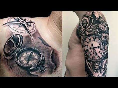 cool pocket   compass tattoos  men