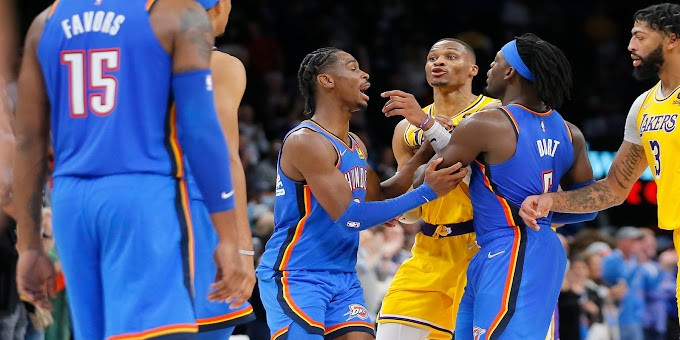 Lakers' Russell Westbrook takes offense to late dunk by Thunder's Darius Bazley