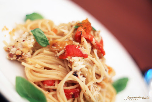 Crab meat pasta with roasted peppers