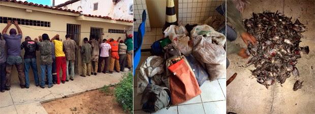 Suspeitos foram levados para a delegacia da cidade, onde responderão por crime ambiental  (Foto: Divulgação/Polícia Militar do RN)