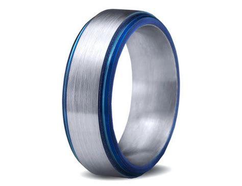 thin blue  titanium rings images  pinterest