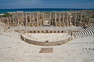 Theater of Leptis Magna (2nd century BC), the ...