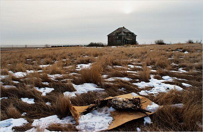 Empty House and Train, North Dakota   Eugene Richards   The Blue Room