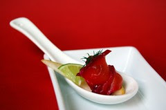 Beetroot Cured Salmon, Pear and Lime: Spoon Style© by Haalo