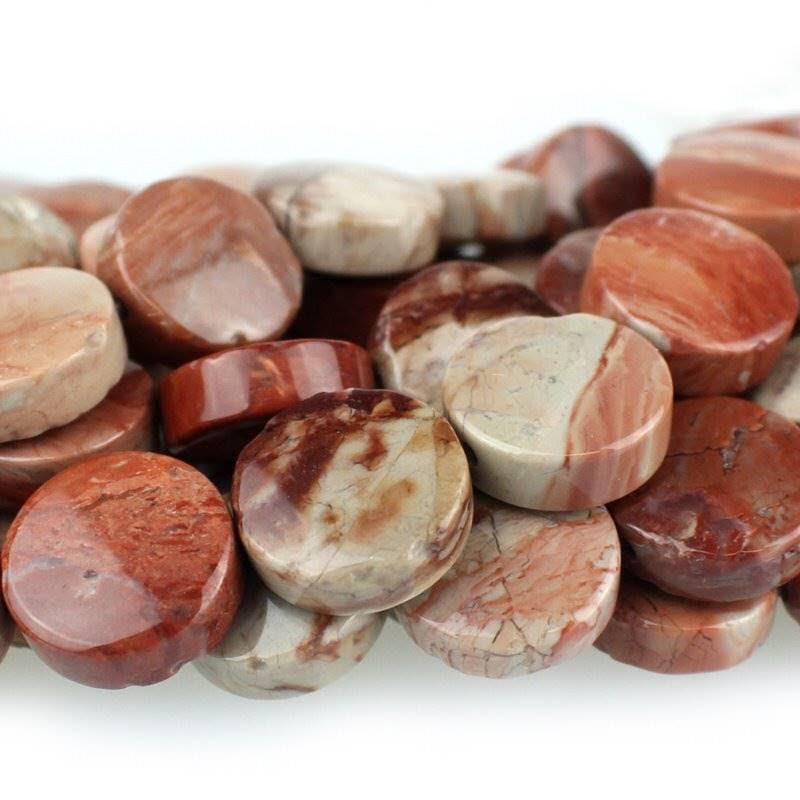 s47553 Stone Beads - 12 mm Coin - Red Porcelain Jasper (strand)