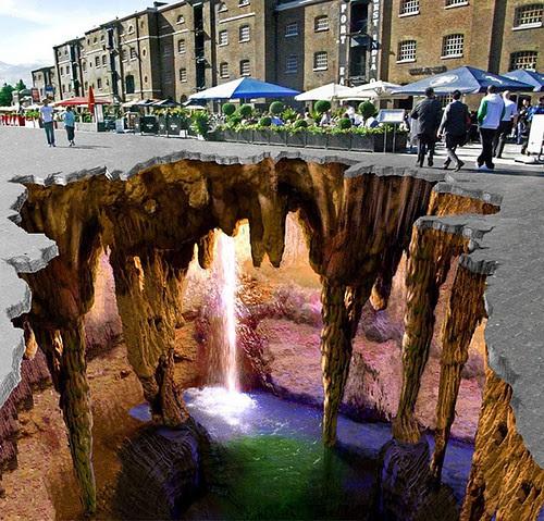 3D Chalk Art, West Dock, England