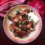 champignons mit quietschekäse und chili