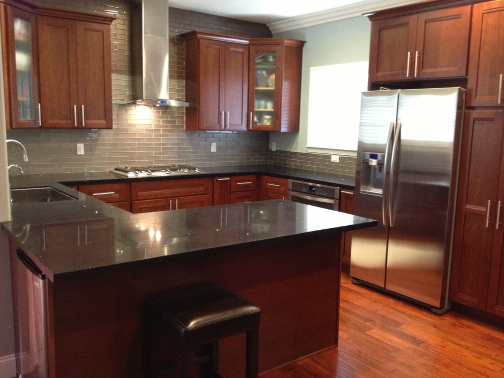 Kitchen Cabinets - american cherry, glass subway tile ...