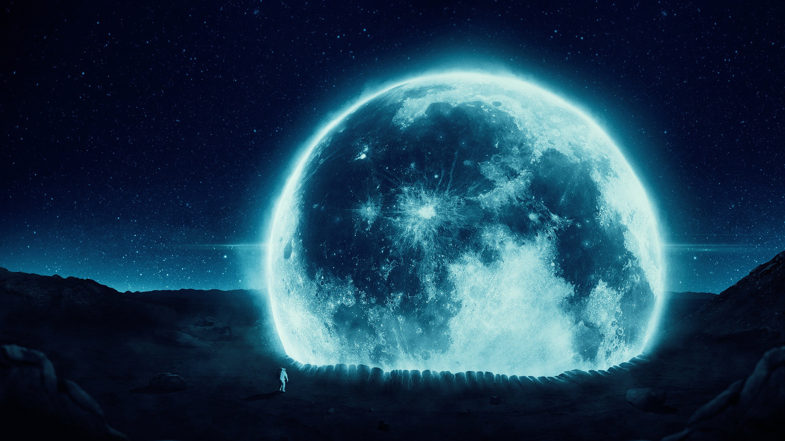 2560x1440 Man On The Moon Desktop Pc And Mac Wallpaper