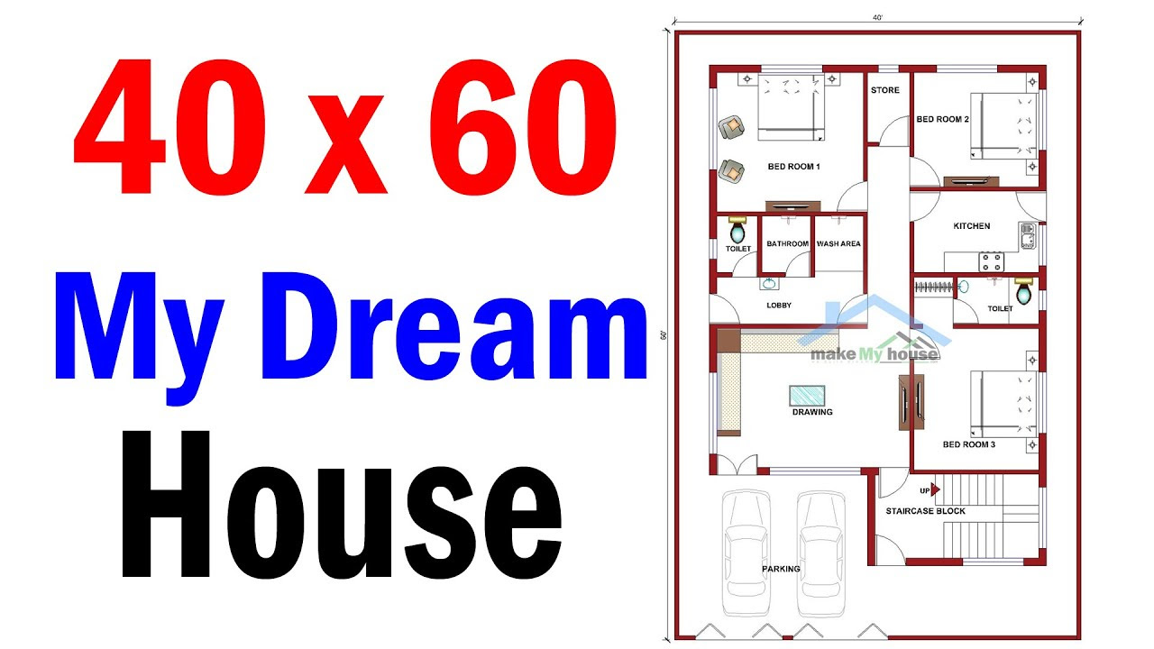how to make house plan in 40 x 60 ft