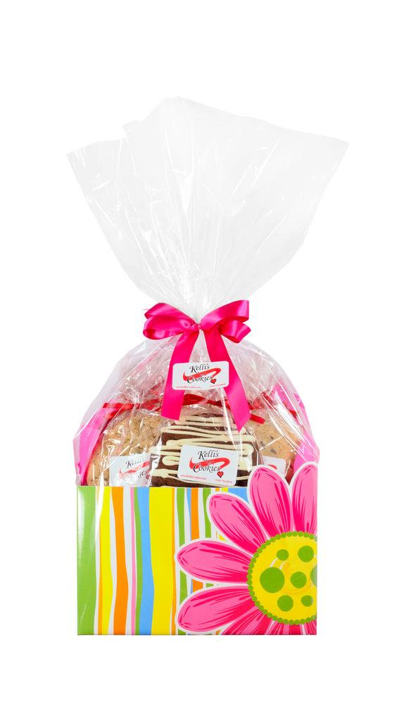 Pink Daisies Cookie Basket (Large - 12 Cookies) - Kelli's ...