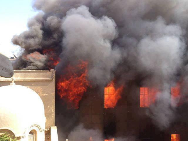 Prince Tadros church in Minya (Source: http://beforeitsnews.com/christian-news/2013/08/christian-churches-attacked-burn-all-over-egypt-2480776.html)