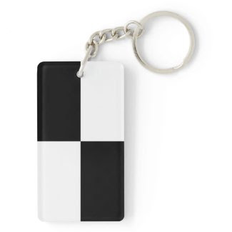 Black and White Rectangles Acrylic Keychains