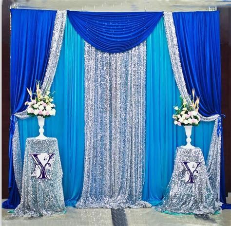 10ft x 10ft Royal Blue Silver With Blue Wedding Backdrop