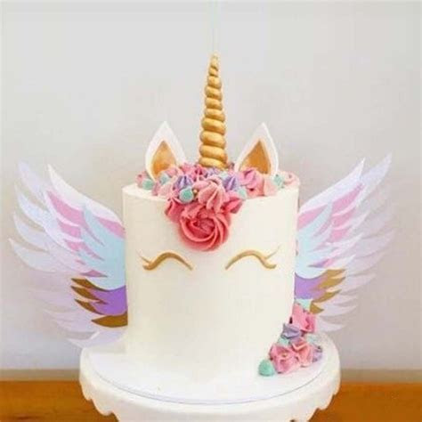 Colorful Unicorn Cake Sparkly Wings Decoration Baby Shower