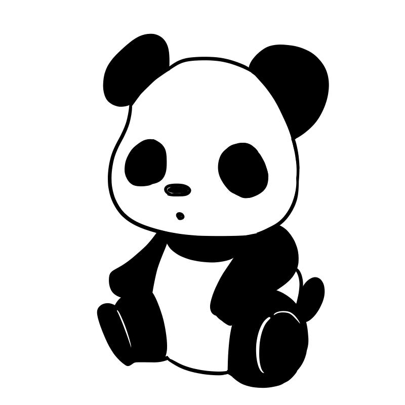 可愛いパンダのフリーイラスト ポケットの中のアルバム
