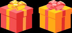 リボンボウ付きの四角いプレゼントボックス2色の無料ベクターイラスト