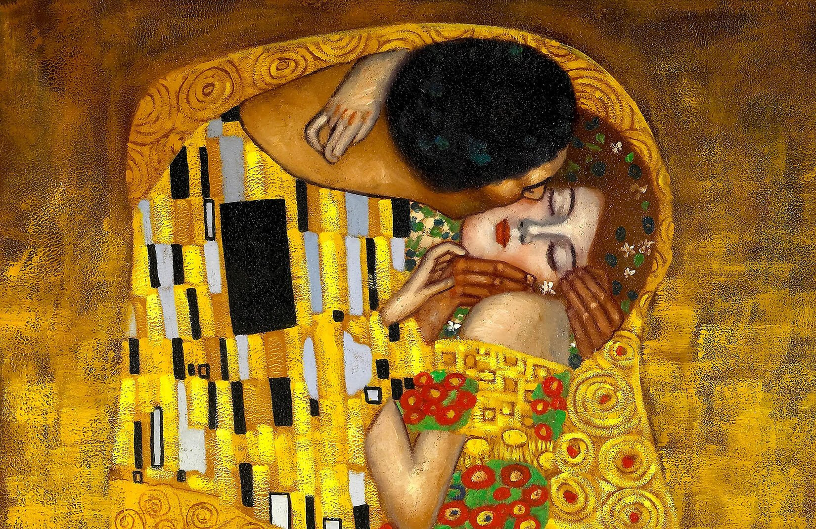 gustav klimt kiss wall mural art plain