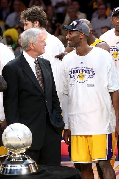 Los Angeles Lakers legend Jerry West and Kobe Bryant of the Los Angeles Lakers smiles after defeating the San Antonio Spurs in Game 5 of the Western Conference Finals during the 2008 NBA Playoffs on May 29, 2008 at Staples Center in Los Angeles, California. The Lakers won 100-92.