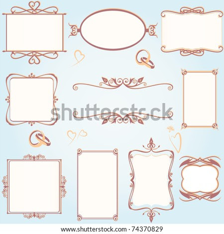 stock vector Ornate vintage frame set with wedding rings