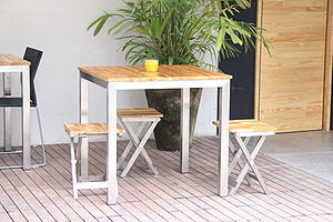 Stainless steel table with eucalyptus wood FSC...
