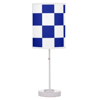 Royal Blue and White Checkered Pattern Desk Lamps
