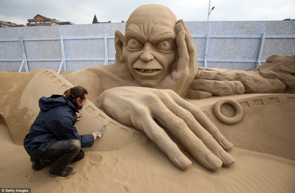 Stare of Smeagol: Gollum is nearly ready for the festival's opening this weekend where organisers hope visitors will not be deterred by the freezing Easter weather