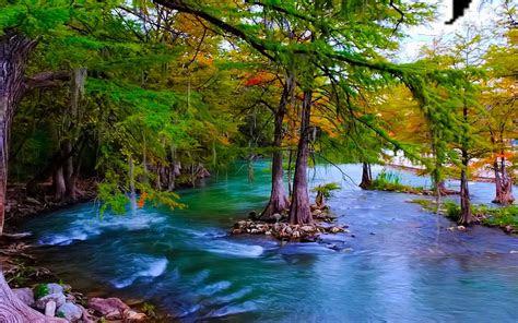 beautiful hd wallpaper mountain river  turquoise green water pine trees stone
