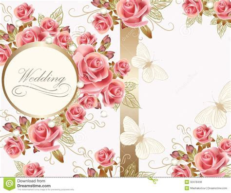 Wedding Greeting Card Design With Roses Stock Vector