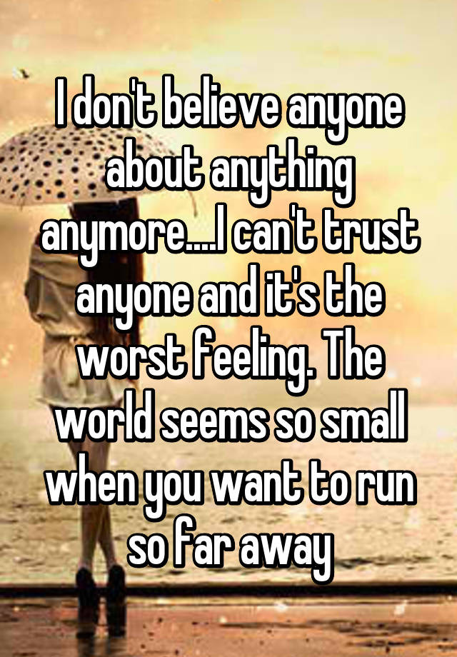 I Dont Believe Anyone About Anything Anymorei Cant Trust