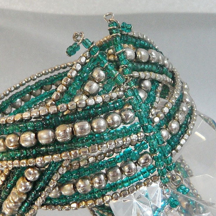 Vintage Green Bracelet. Middle Eastern. Silver Tone and Teal Glass from waalaa on Ruby Lane