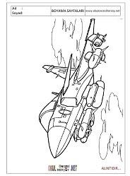 Jet Savaş Uçağı Boyama Sayfaları