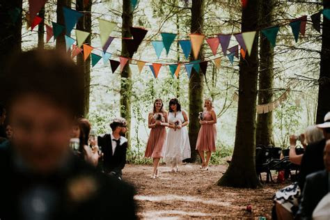 Colourful Outdoor Woodland Ceremony & Barn Reception at
