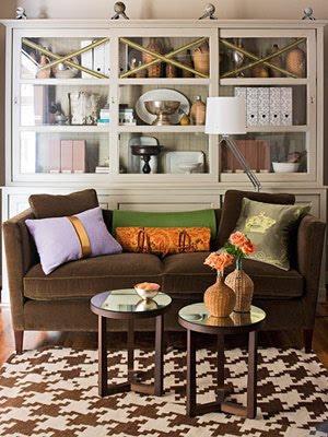 living rooms - brown velvet. sofa purple orange green pillows brown houndstooth rug  chocolate brown  chocolate brown velvet sofa, ivory and