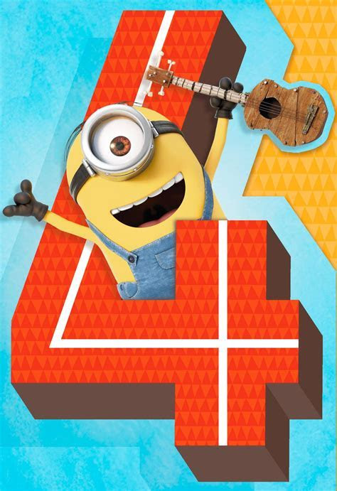 Despicable Me Minions 4th Birthday Sound Card   Greeting
